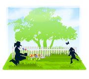 Spring Gardening With Mom. An illustration featuring a spring gardening scene, with mom planting flowers and daughter chasing a butterfly Royalty Free Stock Image