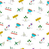 Spring gardening seamless pattern. Garden clean up checklist with planting perennials, digging and mulching, cleaning, trim bushes and trees, sowing seeds Stock Photography