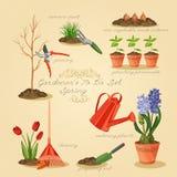 Spring gardening to do list. Card gardener set. Stock Image