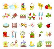 Spring and gardening tools icons set. Planting, growing, caring for garden and decoration elements isolated on white stock illustration
