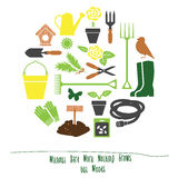 Spring Gardening Tools Set Background, Flat Vector Illustration Royalty Free Stock Photo
