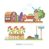 Spring gardening vector flat illustration in pastel colors with cute barn and mill. Light design Stock Image