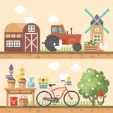 Spring gardening vector flat illustration in pastel colors with cute barn, tractor and bicycle. Light design Stock Photo