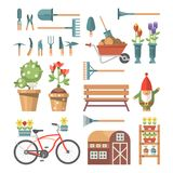 Spring gardening vector flat illustration in pastel colors with cute gardening Tools and garden gnome. Light design Royalty Free Stock Images