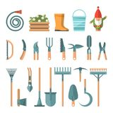 Spring gardening vector flat set illustration in pastel colors with cute gardening Tools. Light design Stock Images