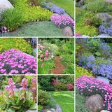 Spring gardens collage. Collage of beautiful gardens in spring Stock Photo