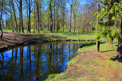 Spring in Gatchina. St. Petersburg, Russia. Palace Garden in State Museum in Gatchina, Water Labyrinth Lake Beloe, Landscape Stock Photos