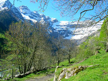 Spring in Gavarnie in Pyrenees. The Circus of Gavarnie, France Royalty Free Stock Photo