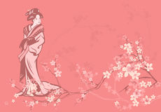 Spring geisha. Spring season vector background with beautiful Japanese geisha and sakura flowers Stock Images