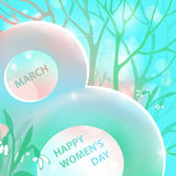 Spring gentle vector illustration. 8 March. Happy Women s Day. Flowering snowdrops in a snowy forest. Template design Stock Images