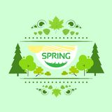 Spring gift card banner green tree vector Stock Images
