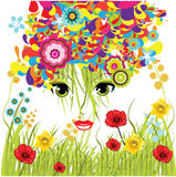 Spring girl. Colorful spring girl illustration background Royalty Free Stock Image