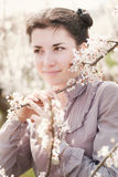 Spring girl. Pretty girl with blossoming trees Stock Photos