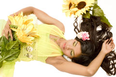 Spring Girl. A model portrait in the studio royalty free stock images