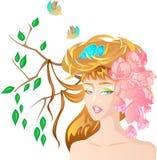 Spring girl. Beautiful fresh girl that symbolizes spring season royalty free illustration
