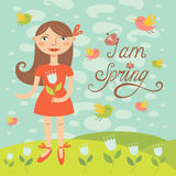 Spring girl with birds. Greeting card Royalty Free Stock Photography