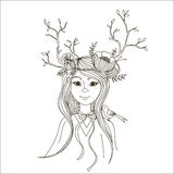 Spring girl with branches on his head in the form of horns. Vector illustration. Black contour isolated on white background Stock Photo