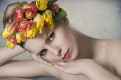 Spring girl in close-up shoot Stock Images