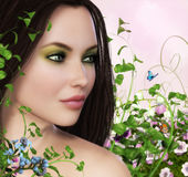 Spring Girl. 3D painting of a beautiful spring girl surrounded by flowers, plants and butterflys Royalty Free Stock Photos
