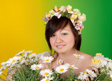 Spring girl with daisies Royalty Free Stock Photography