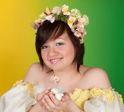 Spring girl with easter eggs Royalty Free Stock Photo