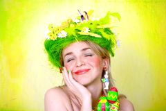 Spring girl with Easter eggs stock photo