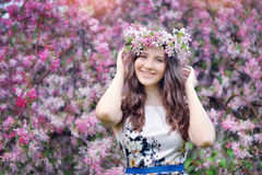 Spring girl enjoying smile Royalty Free Stock Images