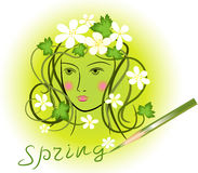 Spring, girl, flowers Stock Photography