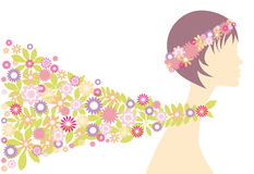 Spring girl with flowers Stock Photos
