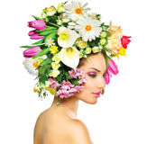 Spring Girl with Flowers. Beauty Spring Girl with Flowers Hair Style Stock Photo