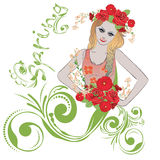 Spring Girl with Flowers royalty free illustration