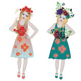 Spring Girl with Flowers stock illustration