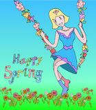 Spring girl with flowers swing. Children illustration for graphic. Stock Photo