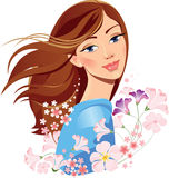 Spring girl with flowers vector illustration
