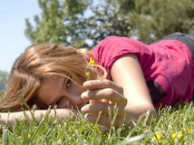 Spring girl on lawns Stock Photo