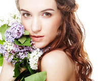 spring girl with  lilac flowers. Stock Photography