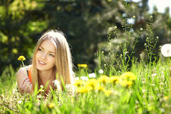 Spring girl lying on the field of dandelions Stock Images