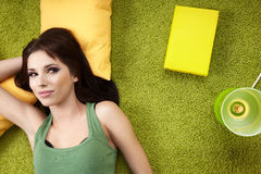 Spring girl napping on pillow. Royalty Free Stock Images