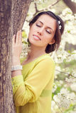 Spring girl outdoors Royalty Free Stock Photo