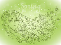 Spring girl portrait with blooming flowers Royalty Free Stock Photos