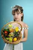 Spring girl showing easter basket Royalty Free Stock Photography
