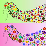 Spring girl and summer girl. Four Seasons Royalty Free Stock Images