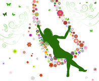 Spring girl on swing Royalty Free Stock Photography
