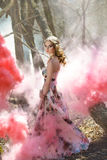 Spring girl in the woods smoke in color. Young and beautiful girl in the wood with pink smoke Stock Image
