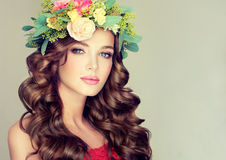 Spring girl.Wreath on the head. Royalty Free Stock Photography