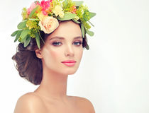 Spring girl.Wreath on the head. Stock Photography