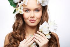 Spring goddess. Gorgeous goddess of spring bringing blooming into the world royalty free stock images