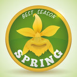 Spring Golden Button with Yellow Orchid, Vector Illustration Stock Photography