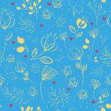 Spring Golden  Flowers. Vector Seamless Pattern Stock Photo