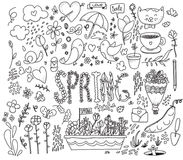 Spring graphics set. Hand drawn vector illustration. Stock Photos